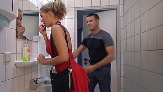Lady in Red gets her ass fucked in Toilet. Swallow