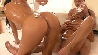 Oiled Threesome. FFM. Anal
