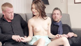 Stunning Timea having fun with two boys at once