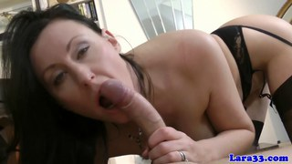Euro mature in lingerie gets cum on ass after sex