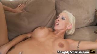 Blonde slut Kasey Grant gives hand job,blow job then gets boob fucked