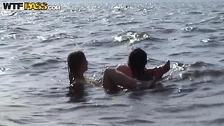 Petite babe Angelina in bikini gives head outdoor
