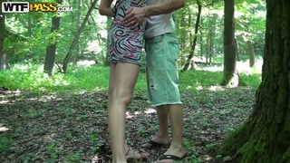 Outdoors amateur porn with horny chick in the forest