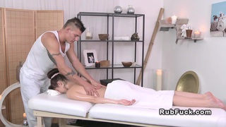 Masseur bangs brunette till jizz fetish euro