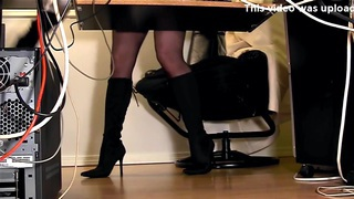 Secretaries under desk hidden cam masturbation