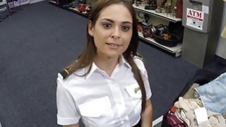 Stewardess sucks and fucked for 200 dollars at the pawnshop