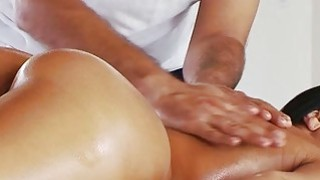 Horny Rachel gets surprise fuck from hot masseur after rub