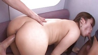 Asian slut gets fucked in a hot train threesome