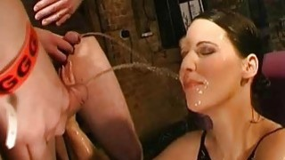 Pissing all over babes face sets her on fire