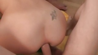 cute blond teen takes hard double penetration fuck