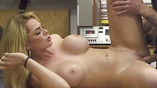 Busty babe convinced to fuck pawn keeper