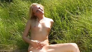Sweet natural blonde banged outdoors