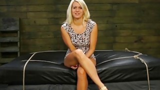 Blonde teen Layla Price enjoys getting her holes toyed in bondage action