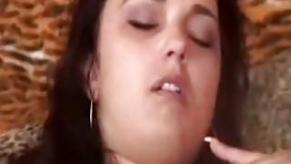 Brunette with strap on fucks her man hard
