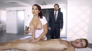 Monique Alexander strokes Danny's sausage and her husband is none the wiser