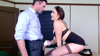 Chanel Preston demonstrates her oral skills on his big cock