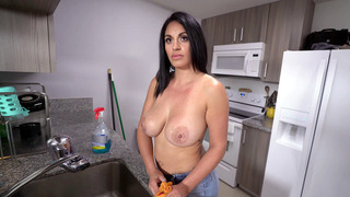 Cristal Caraballo gets a few extra bucks to clean the house topless