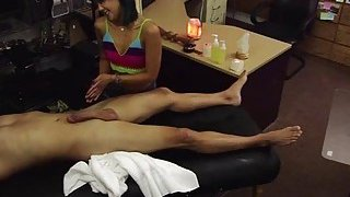 Tiny asian wants to sell her massage kit and ends up hammered by Shawn