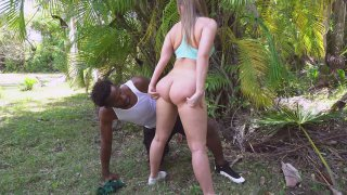 Black guy squeezes Harley Jade's hot ass outdoors