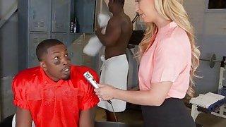 Busty blonde MILF Cheri Deville gets banged by two black studs in a locker room