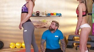 Two hot babes had personal training at gym