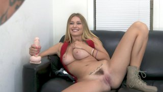 Natalia Starr shows her nice big boobs and hairy pussy
