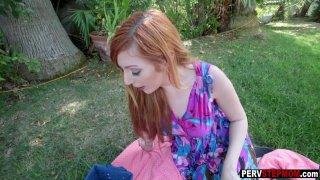 Redhead MILF stepmom got fucked at a backyard picnic