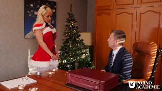 Blonde bitch in stockings fucks with horny guy on christmas