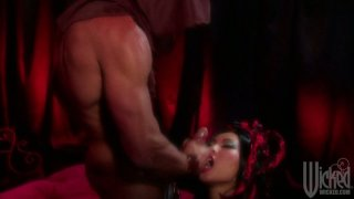 Asian brunette slut Asa Akira dominates this dude on top