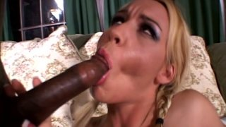 Blond head with ugly makeup Olivia Saint sucks a tasty black cock