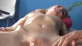 Hot blonde gets pussy fucked in massage fucking