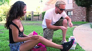 Spontaneous outdoors blowjob
