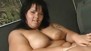 BBW smears cream on her fat skin