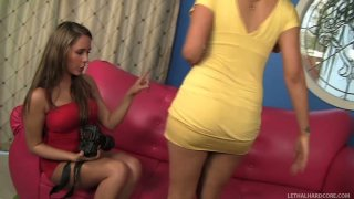 Fabulous babes Penelope Tyler and Ella Milano undress each other