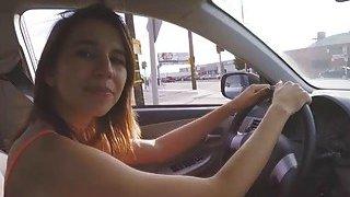Bigtit teen rides car and cock
