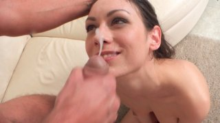 Brunette hottie Arwen Gold gives a wet horny blowjob then slides down to give a stiffie ride in...