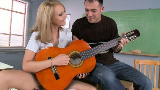 Horny student Nataly V gives a head to her teacher